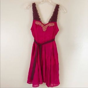 Free People Fuschia Beaded Crochet Dress Sz 2
